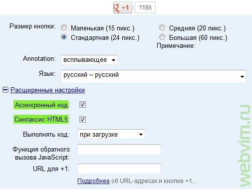 Настройки кнопки google +1